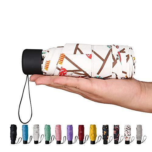 Goothdurs Mini Travel Compact Regenschirm - Kleiner leichter faltbarer Sonnenschirm mit 95% UV Schutz für Damen & Herren, B3-Baummuster