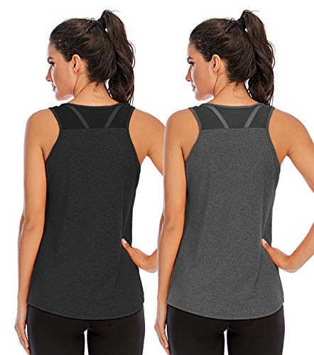 Nekosi Camiseta de tirantes para mujer, para yoga, fitness, correr, sin mangas, de malla en la parte trasera, 01-negro y gris, XL