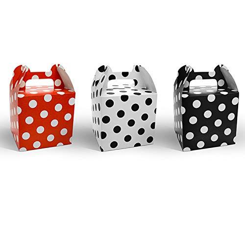 partydeco.pl Lot de 12 boîtes Cadeau à Pois Rouge/Blanc
