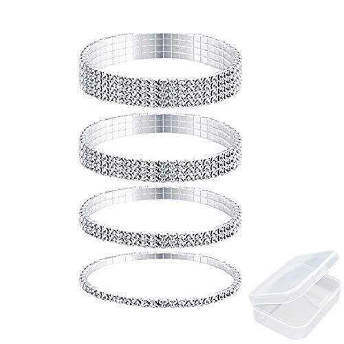 PPX 4 Stücke Strass Strecken Armband Fußkettchen Kristall Armband Silber Tennis Armband Hochzeit Schmuck für Damen-mit Aufbewahrungsbox