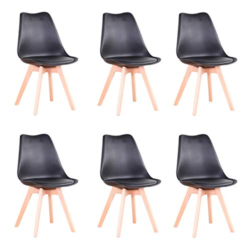 GrandCA HOME Conjunto de 6 sillas, Silla de Comedor, Silla de Estilo nórdico, Adecuada para Sala de Estar, Comedor (Negro-6)