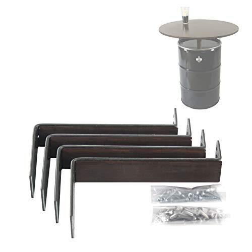 Rogge´s RelaxGrill Halterungen für Montage Einer Tischplatte auf 200 L Stahlfass, Ölfass, Holzfass als Stehtisch Konsolen