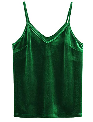 SheIn Women's Casual Basic Strappy Velvet V Neck Cami Tank Top Medium Green