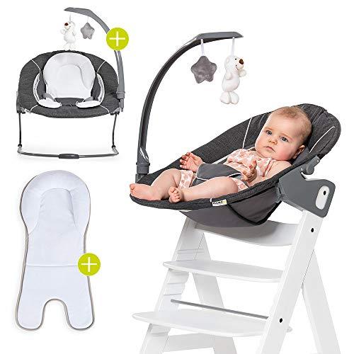 Hauck Alpha & Beta Hochstuhl Newborn Aufsatz - Bouncer 2in1 Deluxe - ab Geburt (für Neugeborene), Rückenlehne verstellbar und als Babywippe nutzbar - Melange Grey