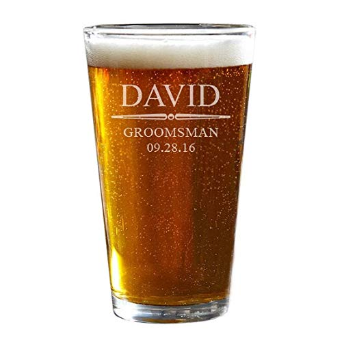Bierglas Groomsmen Pint Glas Bier Pint Bril Gegraveerd Bierglas Gift voor Groomsmen