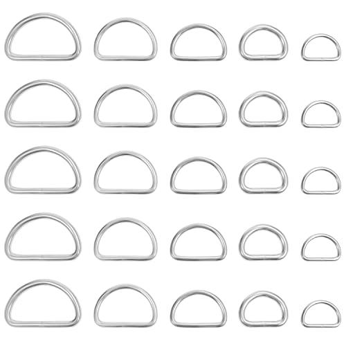 Belle Vous D Ringe Silber Metall Ring (120 Stk) – Verschiedene D Ringe Vernickelt Halbringe - Nicht Geschweißt Paracord Verschluss Ring für Hundeleine, Halsband, Karabiner, Gurt, Rucksack, DIY Zubehör