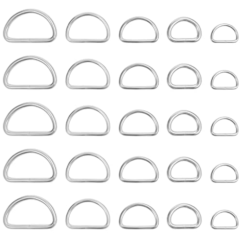 Belle Vous Silver Metal D Ring (120 Pack) - Assorted Nickel Plated Semi-Circular Rings - Non-Welded Loop Buckles for Bag Webbing Strap, Dog Collars, Handbag Purse, Backpack & DIY Accessories