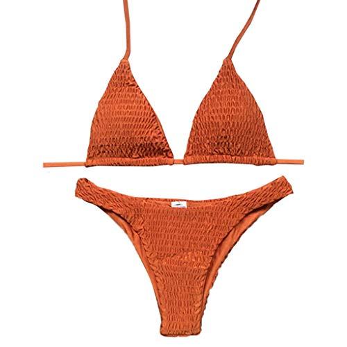 Fenverk Damen Push Up Gepolsterter Bikini-Set Blatt Drucken Badehose Bademode Badeanzug,Damen Sonnenblume Druck Spaghetti-Träger Lace-up Gepolstert Bikini Set(A#Orange,M)