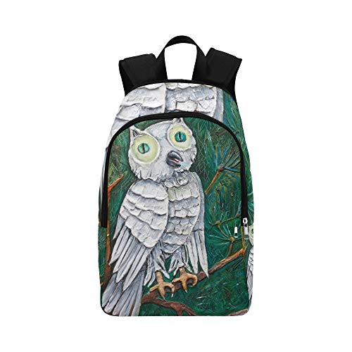 HZHENTIAN Best Daypack Art Gray Natural Bird Owl Oil Painting Durable Water Resistant Classic Carryon Travel Bag Hiking Bag Pack Convertible Travel Bag Cute Bookbags for Women