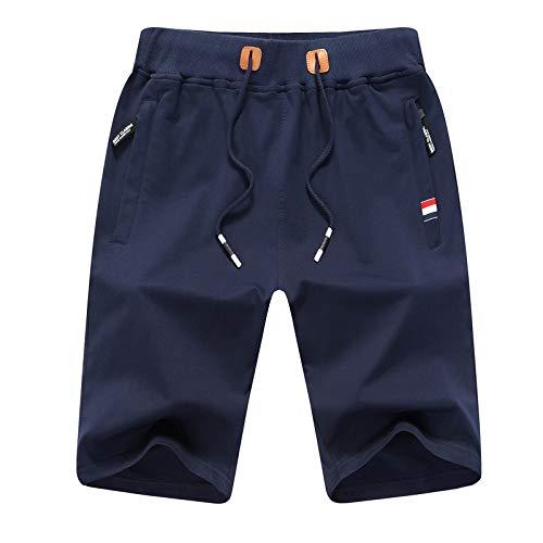 JustSun Pantaloncini Palestra Uomo Running Cotone Sportivi Pantaloncini Estivi con Zip Tasche e Elastico in Vita Blu XX-Large