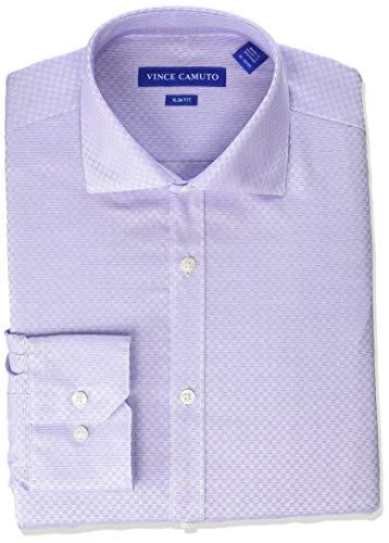 Vince Camuto Men's Slim Fit Spread Collar Solid Dress Shirt, Light Purple Dobby, 15.5 34/35