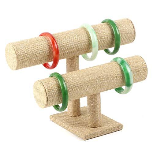 WZ Lino Titular Pulsera para Exhibición Joyas Soporte Organizador Reloj Brazalete Tobillera Soporte Joyería Colgante Desmontable para La Tienda Hogar (Size : 2 Tiers)