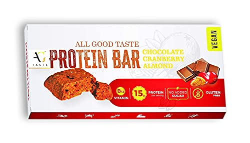 AG Taste 15G Protein Bar-Vegan & Glutenfree, Sugarfree Chocolate Cranberry Almond -270 g (6x45g), Pack of 6 bars- Meal Replacement & Workout bar, No Added Sugar, No Preservatives.