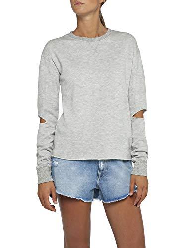 Replay Damen W3018 .000.22670 Sweatshirt, Grau (Light Grey Melange M13), Small (Herstellergröße: S)