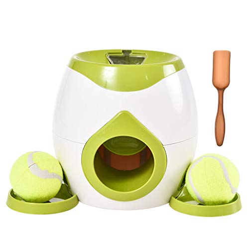 XINGYUE Lanzador de bolas de juguete interactivo para mascotas con recompensa de comida de tenis y alimentador lento