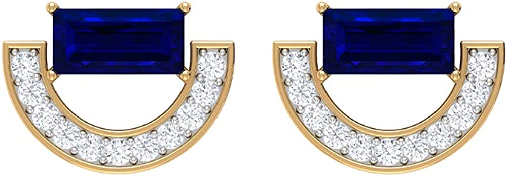 3/4 CT Minimal Crescent Stud Earrings with Baguette Created Blue Sapphire and Diamonds, Screw back