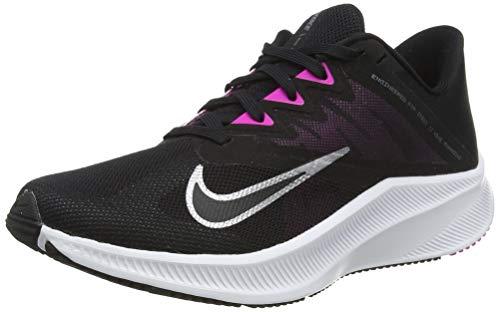 Nike Damen Quest 3 Running Shoe, Black/Metallic Cool Grey-Dark Smoke Grey-Fire Pink, 36.5 EU