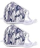 Stoffmaske 2er Set für Nase und Mund - waschbar, Made in EU, Camouflage Design, Grau