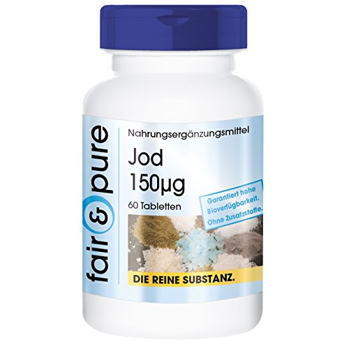 Yodo 150µg - Suplemento de Yodo - Procedente de Yoduro de Potasio - Vegano - Alta pureza - 60 Comprimidos