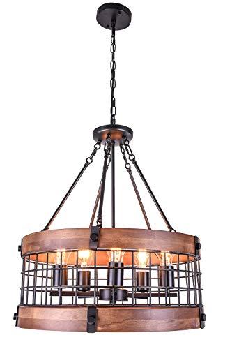 Vintage Industrial Wooden Chandelier with 5-Light Retro Wood Iron Cage Pendant Light Drum Shape Farmhouse Ceiling Light