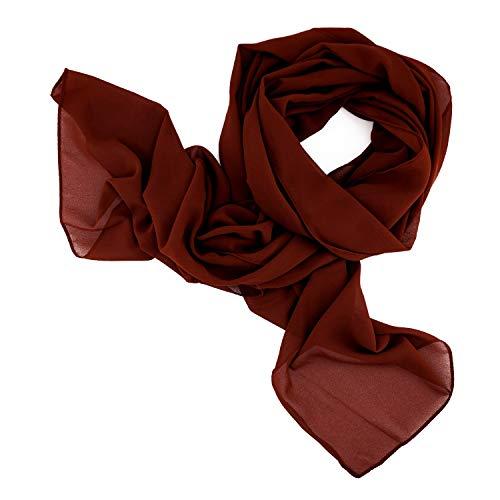 DOLCE ABBRACCIO by RiemTEX ® Schal Damen SWEET LOVE Stola Chiffon Tuch in 30 Unifarben Schals und Tücher Halstücher XXL Chiffontücher in Kastanien Braun Halstuch für jede Jahreszeit (Kastanie)