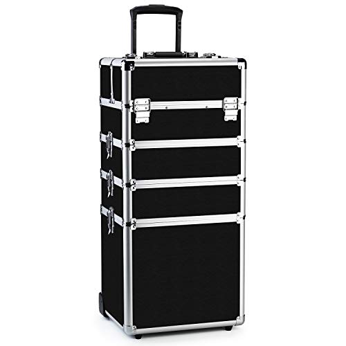 OUDMAY by Amazon - Makeup Train Case 4 in 1 Professional Cosmetics Rolling Organizer Aluminum Frame and Folding Trays