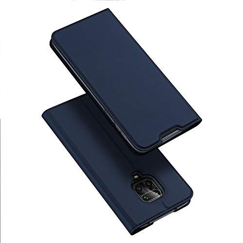 BaiFu Hülle für Xiaomi Redmi Note 9s Lederhülle Flip Hülle mit Magnetischem Superdünnem seidigem Brieftasche Schutzhülle Kompatibel mit Xiaomi Redmi Note 9s-Blau