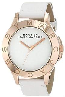 ساعة مارك من مارك جاكوبز بيضاء للنساء بسوار من الجلد - MBM1201