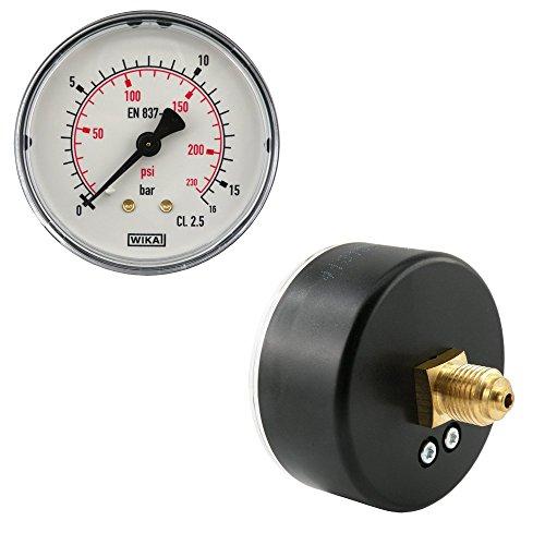 Waagerecht Manometer Ø 40, 50, 63 mm Druckluftmanometer, Klasse 2.5, auch für Vakuum (Anzeigebereich: 0 - 16 bar, Durchmesser: 40 mm)