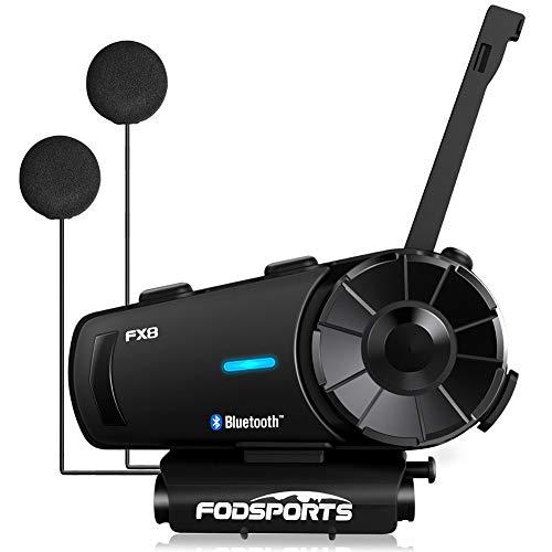 Motorcycle Bluetooth Intercom, Update Version Fodsports FX8 2000m 8 Riders Off-Road Group Motorbike Helmet Bluetooth Headset Communication Systems Kit (HiFi Speaker/FM Radio/300h Standby/1PCS)