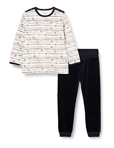 Sanetta Baby-Jungen Long Broken White Super bequemer Nicki-Pyjama schönen Farbigkeit und mit kleinen Igel-Prints Versehen, beige, 098