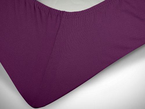 npluseins klassisches Jersey Spannbetttuch – erhältlich in 34 modernen Farben und 6 verschiedenen Größen – 100% Baumwolle, 70 x 140 cm, lila - 6