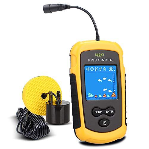 LUCKY Fishfinder Fischfinder 100M / 328ft Portable Angeln Sonar Sensor Verkabelt LCD Tiefe Finder Echolot
