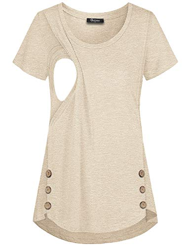 Quinee Women's Casual Button Side Nursing Tops Maternity Breastfeeding Tunic, Beige, Small