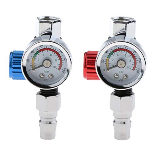 Toygogo 2X Universal G1/4 Paint Spray Gun Air Pressure Regulator Valve Gauge 0 10BAR
