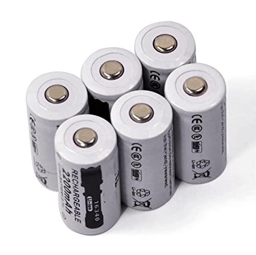 6 Uds 3.7 v 2200 Mah Li-Ion 16340 Cr123a Batería Recargable, para Linterna CáMara Cargador Inteligente Faro Bicicleta Juguete