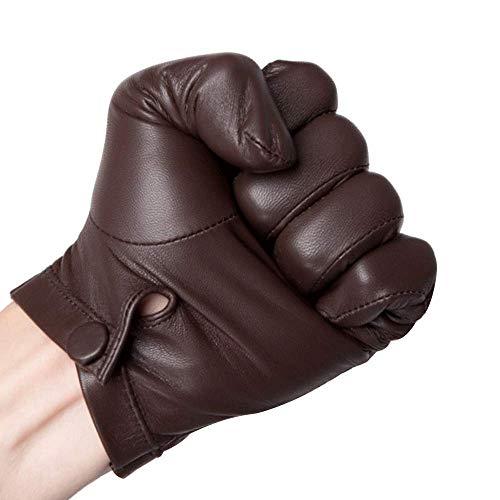 HighShine - Guanti da polso sfoderati per uomo, in pelle di capra sottile, con touch screen, per uomo, colore: nero e marrone Marrone sfoderato. 90