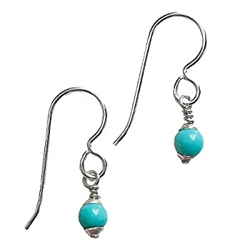 Mexican Turquoise Drop Earrings - Bohemian Jewelry  Small 4mm