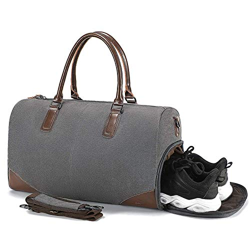 Fresion Holdall Travel Duffles Bag - with 15 inches Laptop Sleeve and Shoe Compartment, Overnight Bags Weekend Bag Large Flight Bag Canvas Tote Bags Shoulder Bag Handbags for Men Women, Grey