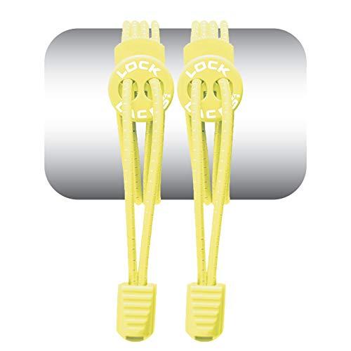 LOCK LACES 674740303259 Elastische Schnürsenkel, ohne Steg, Unisex, Erwachsene, Neongelb, Einheitsgröße