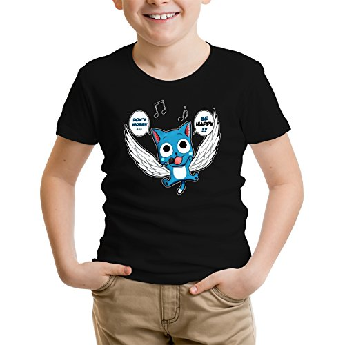 Okiwoki T-Shirt Enfant Noir Fairy Tail parodique Happy : Don't Worry. Be Happy !! (Parodie Fairy Tail)