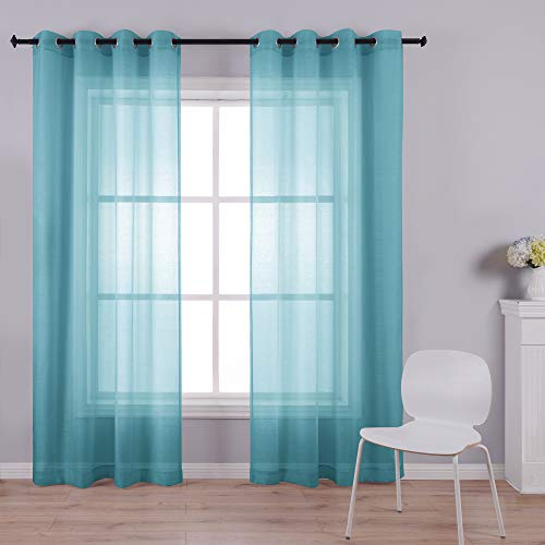 Teal Curtains 108 Inches Long for Dining Room Set of 2 Panels Extra Tall Grommet Window Semi Voile Drapes Teal Sheer Curtains for Living Room Sliding Glass Door 52x108 Inch Length Greenish Blue Green