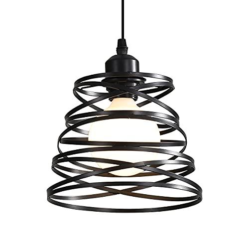 Lampada a Sospensione Moderna, E27 Lampadario Vintage Industriale con Paralume a Spirale in Filo Metallico per la casa Soggiorno Camera da letto Cucina Decorazione (Nero)