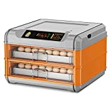 Thermoses Pull-Out Intelligent Incubator,Fully Automatic 128 Eggs Incubator, Poultry Hatcher Machine with Auto Turning for Hatching Chicken Duck Goose Quail Birds Turkey(Color:Orange)