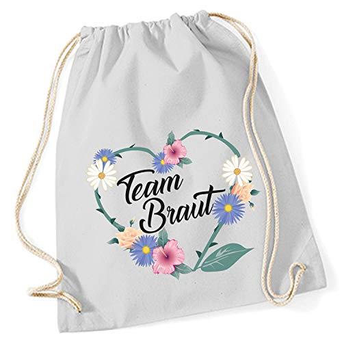 Shirt-Panda Turnbeutel JGA Braut/Team-Braut Blumenherz Junggesellinnenabschied Tasche Rucksack - Grau - Team Braut