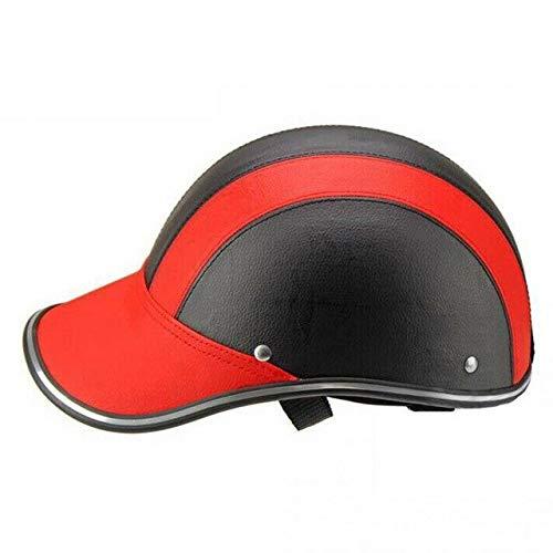 Berrd Mezzo casco da baseball berretto da baseball casco facciale bicicletta elettrica scooter UV cap berretto parasole regolabile sottogola - rosso