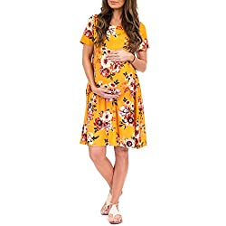 mustard yellow floral maternity dress with short sleeves