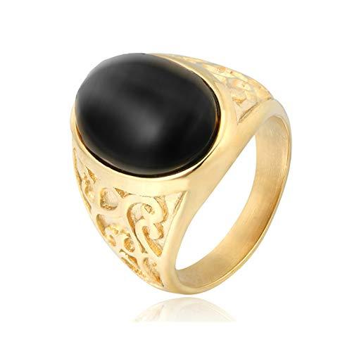 Aeici Punk Ringe Herren Totem Keltische Blume Ovalschnitt Lamber Ringe Gold Schwarz Größe 54 (17.2)