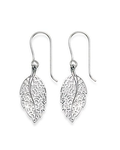 Heather Needham GENUINE 925 SILVER - Sterling Silver Leaf drop earrings - SIZE: 11 x 20mm. plus wires Gift boxed. 6041