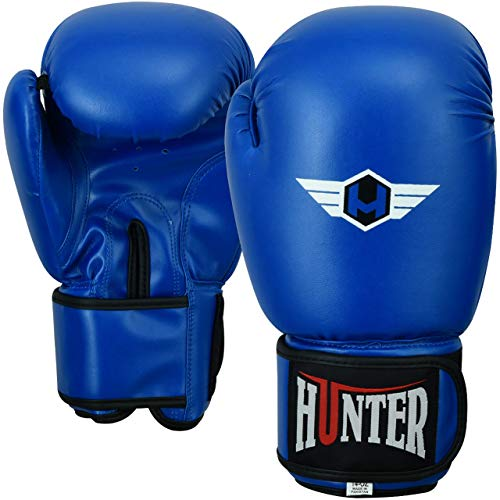 HUNTER Boxing Gloves Muay Thai Training Professional Synthetic Leather Sparring Punching Bag Mitts Kickboxing Fighting (Blue, 10 OZ)